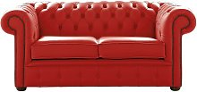Chesterfield 2 Seater Shelly Flame Red Leather