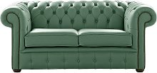 Chesterfield 2 Seater Shelly Jade Green Leather