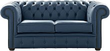 Chesterfield 2 Seater Shelly Majolica Blue Leather