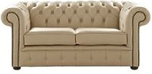 Chesterfield 2 Seater Shelly Panna Leather Sofa