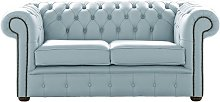 Chesterfield 2 Seater Shelly Parlour Blue Leather