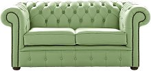 Chesterfield 2 Seater Shelly Pea Green Leather