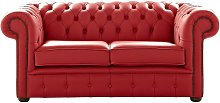 Chesterfield 2 Seater Shelly Poppy Red Leather