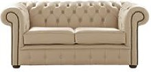 Chesterfield 2 Seater Shelly Stone Leather Sofa