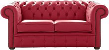 Chesterfield 2 Seater Shelly Velvet Red Leather