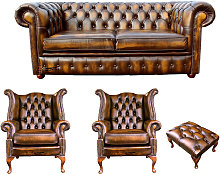 Chesterfield 2 Seater Sofa + 2 x Queen anne