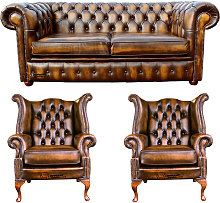 Chesterfield 2 Seater Sofa + 2 x Queen anne Chairs
