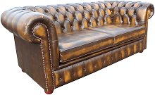 Chesterfield 2 Seater Sofa Bed Antique Gold Leather