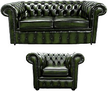 Chesterfield 2 Seater Sofa + Club Chair Leather