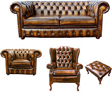 Chesterfield 2 Seater Sofa + Club Chair + Mallory