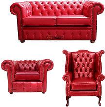 Chesterfield 2 Seater Sofa + Club Chair + Queen
