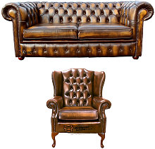 Chesterfield 2 Seater Sofa + Mallory Wing Chair