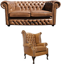 Chesterfield 2 Seater Sofa + Queen Anne Chair Old