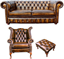 Chesterfield 2 Seater Sofa + Queen anne +