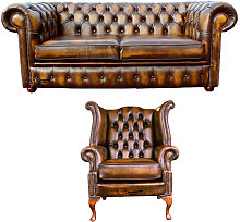 Chesterfield 2 Seater Sofa + Queen Anne Wing Chair