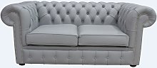 Chesterfield 2 Seater Sofa Settee Shelly Silver