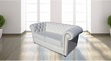 Chesterfield 2 Seater White Leather Sofa Brass