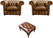 Chesterfield 2 x Club Chairs + Footstool Leather