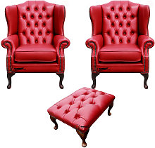 Chesterfield 2 x Mallory Wing Chairs + Footstool