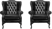 Chesterfield 2 x Mallory Wing Chairs Old English