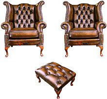 Chesterfield 2 x Queen anne Chairs+footstool