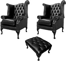 Chesterfield 2 x Queen Anne Chairs + Footstool Old