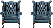 Chesterfield 2 x Queen anne Chairs Leather Sofa