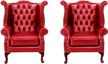 Chesterfield 2 x Queen Anne Chairs Old English