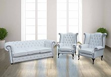 Chesterfield 3+1+1 Crystal Diamond White Leather