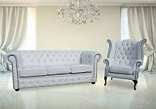 Chesterfield 3+1 Crystal Diamond White Leather
