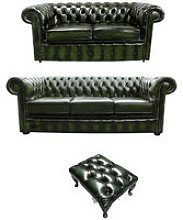 Chesterfield 3+2+footstool Leather Sofa Offer