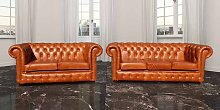 Chesterfield 3+2 Seater Settee Old English Tan