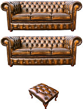 Chesterfield 3+3+footstool Leather Sofa Offer