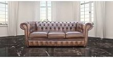 Chesterfield 3 Seater Antique Autumn Tan Leather