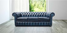 Chesterfield 3 Seater Antique Blue Leather Sofa