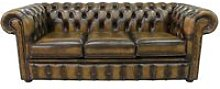Chesterfield 3 Seater Antique Gold Leather Sofa