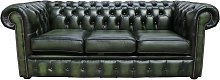 Chesterfield 3 Seater Antique Green Leather Sofa