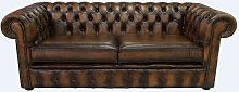 Chesterfield 3 Seater Antique Tan Leather Sofa 2