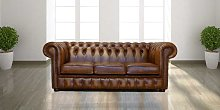 Chesterfield 3 Seater Birch Antique Gold Leather