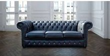 Chesterfield 3 Seater Black Leather Sofa