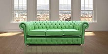Chesterfield 3 Seater Settee Apple Green Leather
