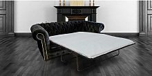 Chesterfield 3 Seater Settee Black Fabric SofaBed