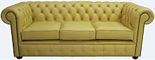 Chesterfield 3 Seater Settee Deluca Yellow Leather