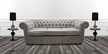 Chesterfield 3 Seater Settee Kimora Grey with Blue