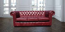 Chesterfield 3 Seater Settee Old English Burgandy