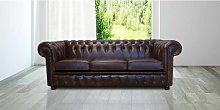 Chesterfield 3 Seater Settee Old English Dark
