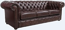 Chesterfield 3 Seater Settee Old English Red Brown
