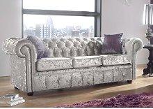 Chesterfield 3 Seater Settee Shimmer Silver Velvet