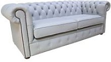 Chesterfield 3 Seater Settee Silver Grey Leather