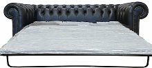 Chesterfield 3 Seater Settee Sofa Bed Black Leather